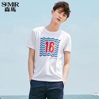 森马短袖T恤 2017夏装新款 男士圆领字母韩版半袖上衣体恤男学生
