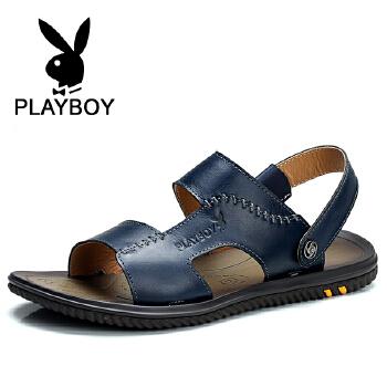 花花公子 夏季男士透气鞋韩版真皮凉鞋男沙滩休闲鞋 德 CX237553