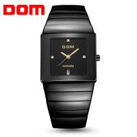 多姆(DOM)手表 商务陶瓷休闲男表 石英表  联保 防水男士手表