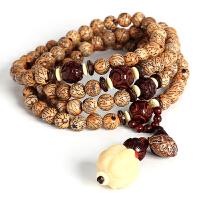 戴和美 精选天然金线菩提配象牙果小叶檀椰壳108颗佛珠手串