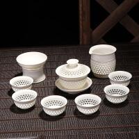 s思故轩青花瓷玲珑茶具套装蜂窝镂空陶瓷功夫茶具冰晶蜂巢茶壶茶杯CMZ1707