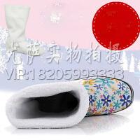 韩版女士雨靴水鞋加绒2016年四季款户外 休闲鞋雨鞋雨靴潮流长筒紫色花时尚中筒女式雨鞋