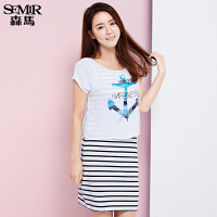 森马连衣裙 夏装 女士圆领字母印花条纹直筒假两件韩版潮