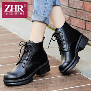 ZHR冬季清仓真皮粗跟马丁靴韩版中跟短靴女靴子单靴潮女鞋R87