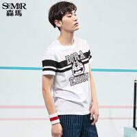 森马短袖T恤男 2017夏季新款 男士学生叮当猫印花青少年打底T恤