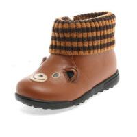 Shoebox/鞋柜13年冬新款可爱小熊毛线拼接加绒皮鞋男童鞋