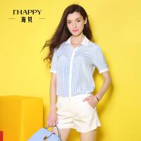 海贝2016年夏装新款衬衫女 街头风清新格纹翻领运动休闲中袖衬衫