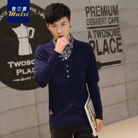 男装2016秋季新款男士衬衫领针织衫韩版毛衣男V领潮流