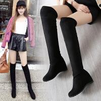 ZHR冬季清仓平底过膝靴女内增高长靴高筒女靴子韩版学生长筒靴潮T01