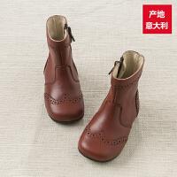 davebella戴维贝拉 女童秋冬新款手工制造靴子牛皮真皮中筒靴