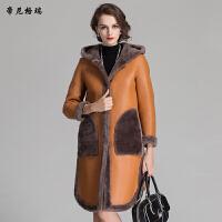 冬季新款羊剪绒皮草外套连帽两面穿皮毛一体女装
