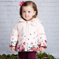 davebella戴维贝拉 女童冬季新款加厚印花棉衣宝宝棉服