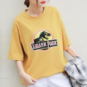 【当当年中庆】波柏龙 上衣学生卫衣女卡通纯棉短袖T恤女韩版宽松女夏季新款