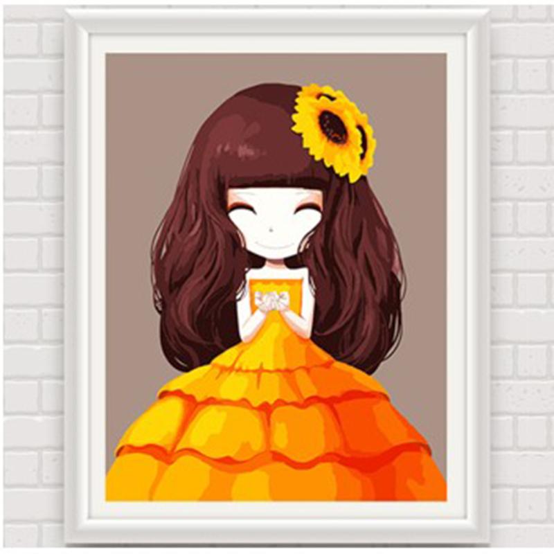 数字油画 动漫卡通人物少女手绘装饰画 儿童可爱卧室 花花姑娘_向日葵