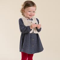 davebella戴维贝拉 秋季新款女童连衣裙套装 宝宝马甲短裙套装