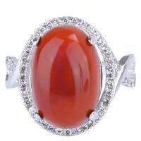 戴和美 精选天然南红玛瑙镶嵌女款戒指(附鉴定证书)均码可调节