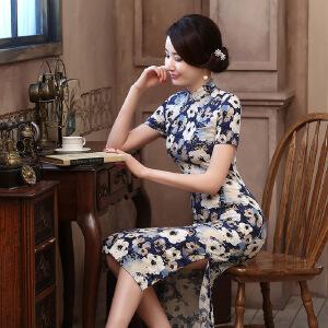 波柏龙 新款长款亚麻旗袍 时尚复古连衣裙短袖旗袍  海棠