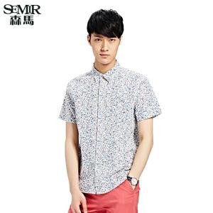 森马夏装新款短袖衬衫 男士韩版时尚休闲碎花亚麻衬衣男装 潮
