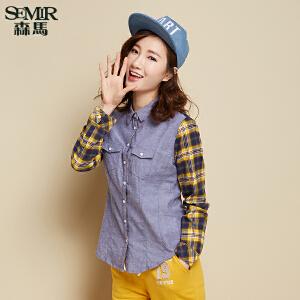 森马长袖衬衫秋装女士翻领格子拼接直筒休闲衬衣潮韩版学生显瘦潮