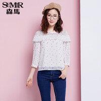 森马九分袖衬衫 夏装 女士圆领雪纺印花拼接直筒衬衣韩版