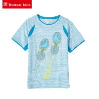 探路者童装 儿童T恤中大童2017夏季新款男童圆领短袖T恤半袖潮