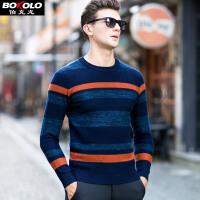 伯克龙 男士纯羊毛衫条纹圆领冬季厚款 男装青中年针织衫毛线衣Z88313