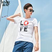 森马短袖T恤2017夏季新款 男士套头纯棉简约休闲撞色印花体恤潮