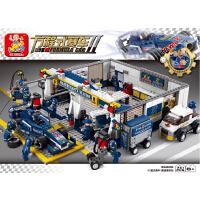 小鲁班积木益智拼装益智积木F1蓝光赛车赛道维修站B0356 拼插积木玩具