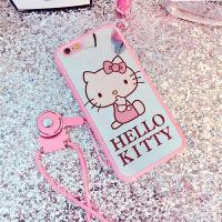 凯蒂猫iPhone6手机壳苹果6plus镜面卡通6s挂绳硅胶套可爱粉色KT女KT镜面iPhone6s手机壳4.7寸苹果6plus挂绳可爱卡通保护硅胶套外壳