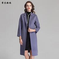 冬季新款女士立领九分袖修身显瘦双面羊毛呢大衣欧美休闲外套D-1705
