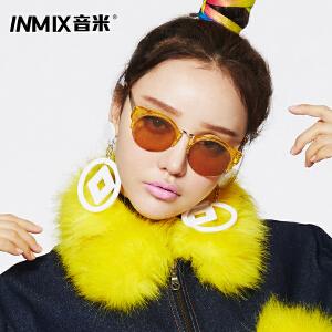 音米新款时尚板材墨镜 个性半框透明色太阳镜 男女潮复古眼镜1352