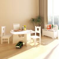 慧乐家芙莱尔桌椅收纳箱组合套装 地中海儿童家具玩具家具箱11166