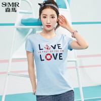 森马短袖T恤女2017夏装新款韩版圆领上衣刺绣印花学生打底衫T恤