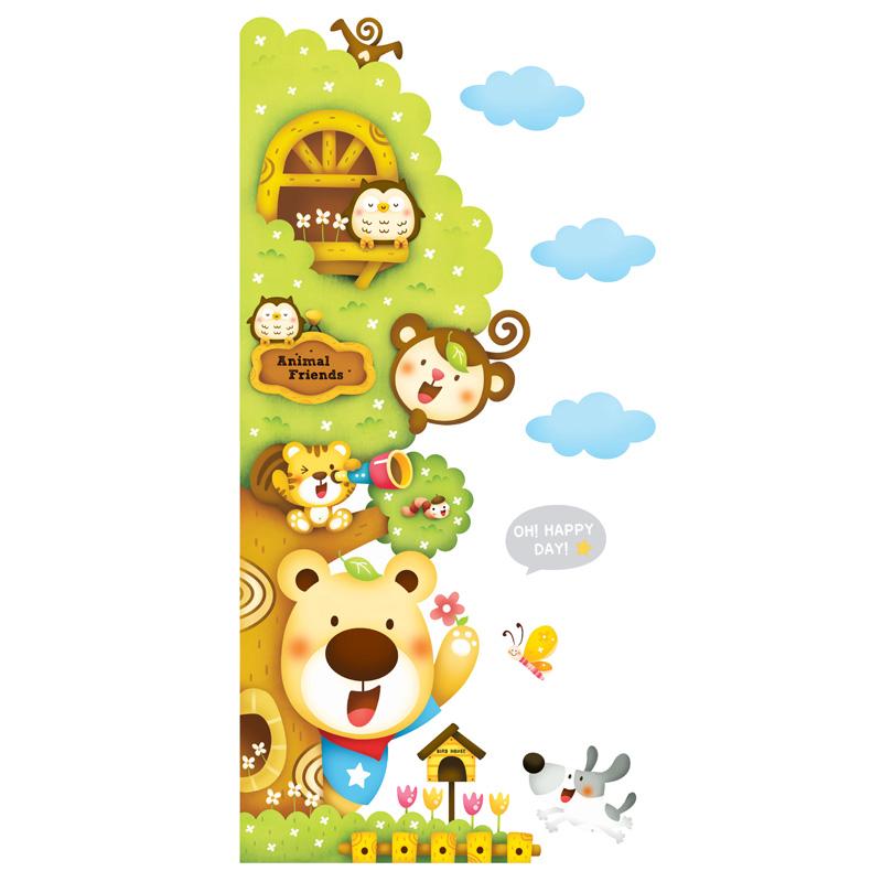 贝贝梦韩国进口 儿童房墙贴 可移除门贴 夜光卡通贴纸 可爱小动物与