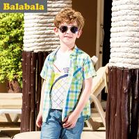 巴拉巴拉男童衬衫短袖中大童格子上衣童装夏季儿童衬衣男
