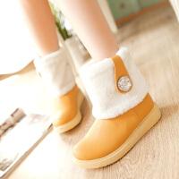 彼艾2016年秋冬甜美毛毛靴棉靴厚底平跟平底少女短靴学生雪地靴女可做大码