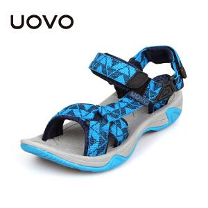 UOVO2017儿童凉鞋新款夏季小大童男童凉鞋露趾男童沙滩鞋潮男童鞋软底 雨林