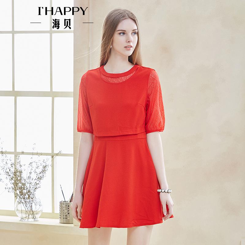 海贝年春季新款女 蕾丝拼接圆领中袖收腰连衣裙