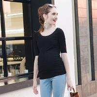 大码孕妇装2017夏季新款弹力圆领短袖上衣时尚薄款纯色t恤潮妈 S17061
