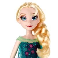 孩之宝 迪士尼冰雪奇缘生日惊喜系列艾莎人偶娃娃 女孩玩具礼物