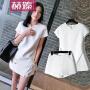 【hersheson赫��】2017夏装新款女装潮明星同款白色连衣裙夏季名媛不规则性感套装H6685