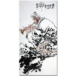 中美协副主席 刘文西【黄土地上唢呐声】 137*69cm D17019