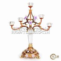 烛台欧式复古珐琅彩人造玻璃水晶烛台摆件 家居客厅餐桌创意装饰品 创意礼品