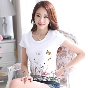 波柏龙 韩版新款打底衫纯白色tshirt印花甜