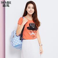 森马短袖T恤 夏装 女士圆领趣味字母印花t恤直筒短T韩版