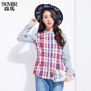 森马长袖衬衫 春装 女士韩版翻领格子拼接棉质直筒衬衣潮