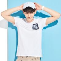 森马短袖T恤男士2017夏装新款修身圆领都市体恤男半袖上衣莫代尔