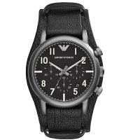 阿玛尼(ARMANI)手表时尚系列男士计时蓝皮革袖扣带腕表石英手表AR1829 AR1830 AR1832