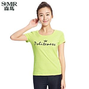 森马夏装新款短袖T恤 女装圆领印花镶钻皇冠针织衫T恤 女韩版