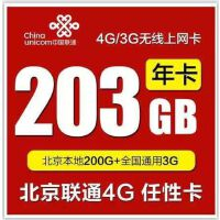 北京联通4G 上网卡  203GB(200G北京本地+全国漫游3G)累计1年卡